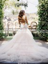 V-neck Tulle Court Train Appliques Lace New Style Trumpet/Mermaid Wedding Dresses #PDS00022576