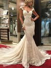 Trumpet/Mermaid V-neck Lace Tulle Appliques Lace Watteau Train Glamorous Wedding Dresses #PDS00022577