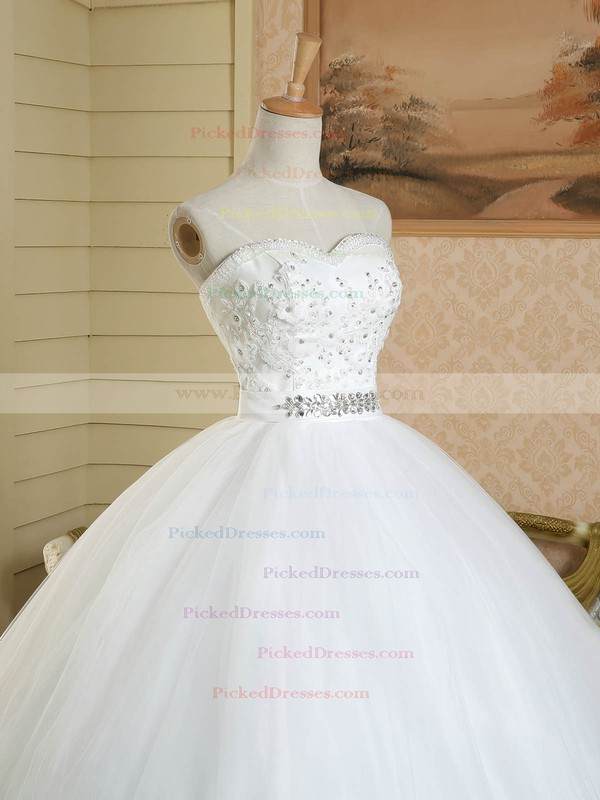 Wholesale Sweetheart Tulle Floor-length Sashes / Ribbons White Ball Gown Wedding Dresses #PDS00022578