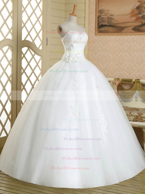 Vintage Ball Gown Tulle Floor-length with Flower(s) White Strapless Wedding Dresses #PDS00022580