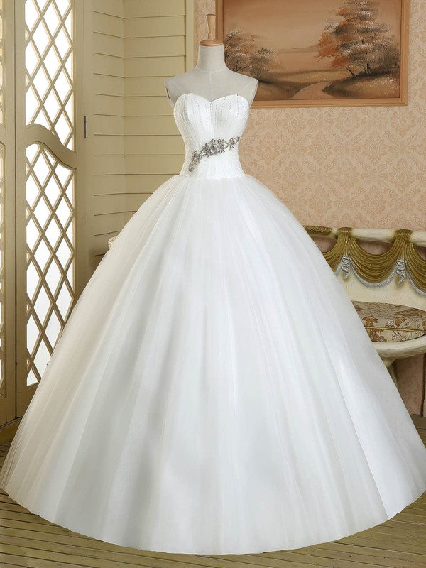 Ball Gown Sweetheart Tulle Crystal Detailing Floor-length White Custom Wedding Dress #PDS00022581