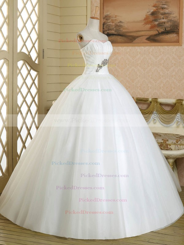Ball Gown Sweetheart Tulle Crystal Detailing Floor-length White Custom Wedding Dress #PDS00022581