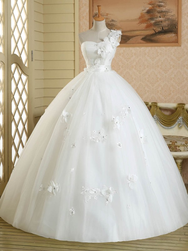 White Ball Gown Tulle Floor-length Appliques Lace Classic One Shoulder Wedding Dress #PDS00022582