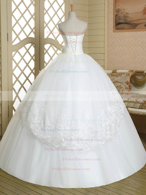 Inexpensive Strapless Tulle Floor-length Appliques Lace White Ball Gown Wedding Dresses #PDS00022583