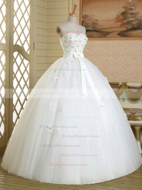 Ball Gown Sweetheart Tulle Sashes / Ribbons Floor-length White Promotion Wedding Dresses #PDS00022584
