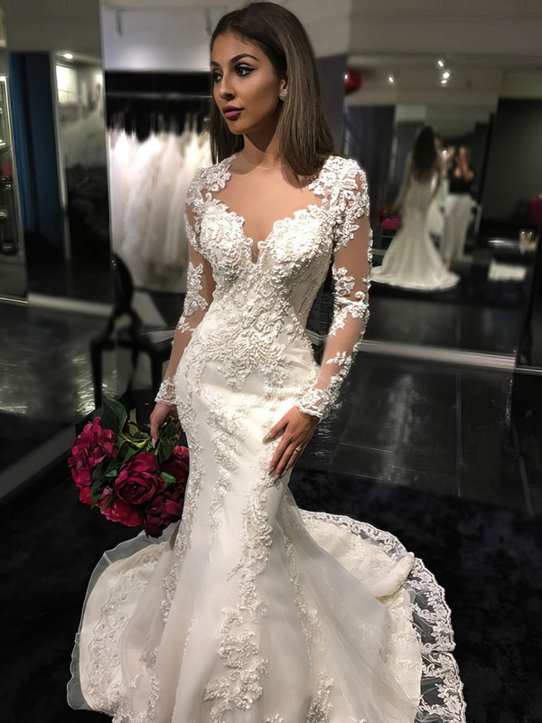 Boutique Scoop Neck Tulle Court Train Appliques Lace Trumpet/Mermaid Long Sleeve Wedding Dress #PDS00022585
