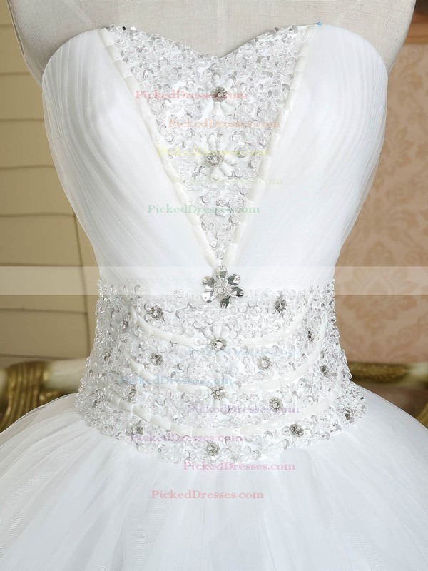 Ball Gown Sweetheart Tulle Beading Floor-length Lace-up White Discounted Wedding Dresses #PDS00022586