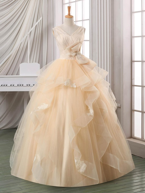 Elegant Ball Gown V-neck Satin Organza Tulle Appliques Lace Floor-length Backless Wedding Dresses #PDS00022587