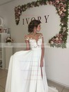 Fabulous A-line Scoop Neck Chiffon Tulle Appliques Lace Sweep Train Short Sleeve Wedding Dress #PDS00022588