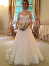 Fashion Open Back A-line Lace Sweep Train Sashes / Ribbons Long Sleeve High Neck Wedding Dresses #PDS00022590