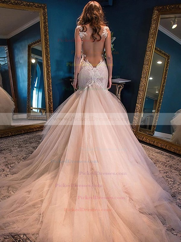 Sweetheart Tulle Watteau Train Appliques Lace Modern Trumpet/Mermaid Wedding Dresses #PDS00022591