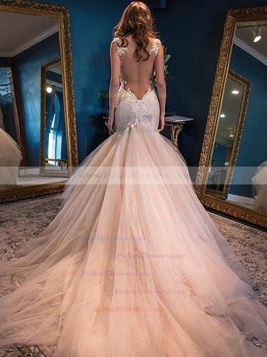 Sweetheart Tulle Watteau Train Appliques Lace Modern Trumpet/Mermaid Wedding Dresses #PDS00022591