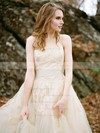 Discounted A-line Scoop Neck Tulle with Appliques Lace Sweep Train Wedding Dresses #PDS00022592