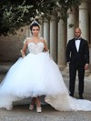 Ball Gown Scoop Neck Tulle Appliques Lace Cathedral Train Long Sleeve Stunning Wedding Dresses #PDS00022594