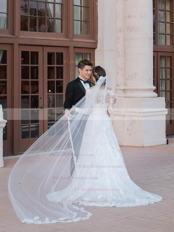 Elegant A-line Off-the-shoulder Court Train Lace with Sashes / Ribbons Long Sleeve Wedding Dress #PDS00022595