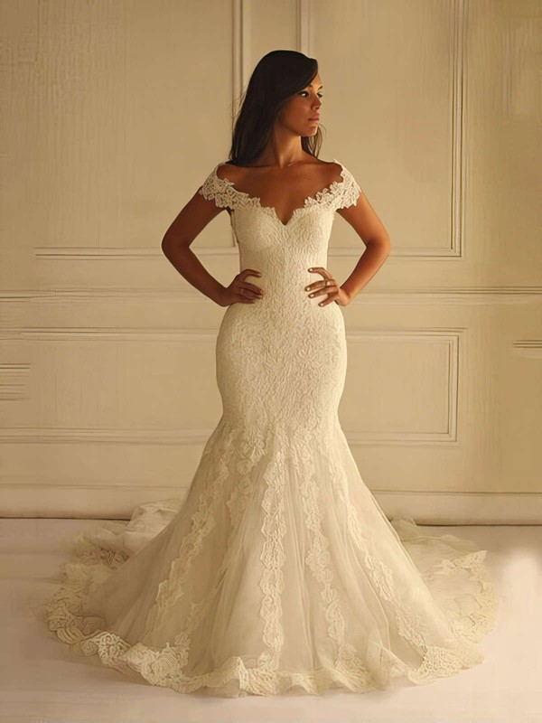 V-neck Lace Tulle Court Train Appliques Lace Graceful Trumpet/Mermaid Wedding Dresses #PDS00022596