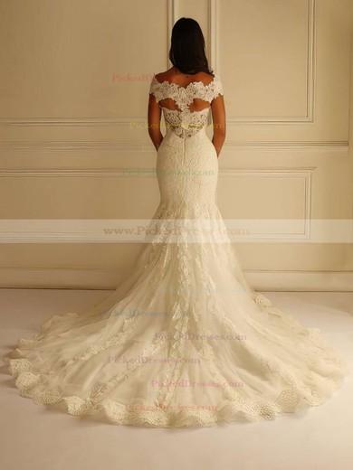 V-neck Lace Tulle Court Train Appliques Lace Graceful Trumpet/Mermaid Wedding Dresses #PDS00022596