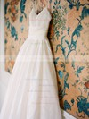 A-line V-neck Spaghetti Straps Satin Appliques Lace Sweep Train New Wedding Dresses #PDS00022599