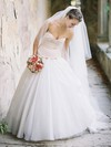 New Style A-line Sweetheart Tulle with Bow Sweep Train Wedding Dresses #PDS00022600