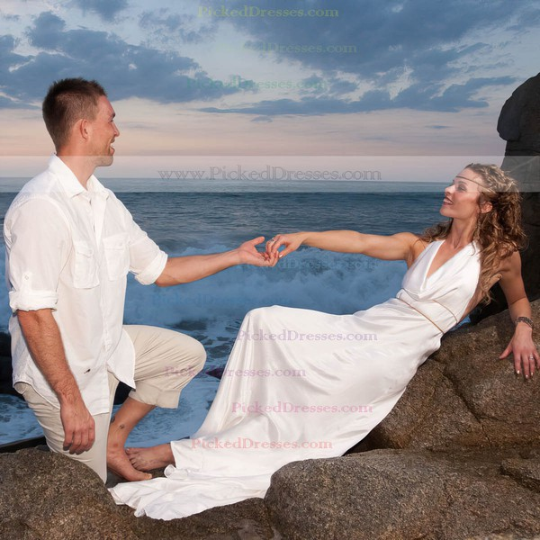 A-line Halter Silk-like Satin Ruffles Sweep Train Backless New Arrival Wedding Dresses #PDS00022604