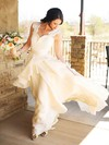 A-line Sweetheart Chiffon Appliques Lace Sweep Train Beautiful Wedding Dresses #PDS00022605