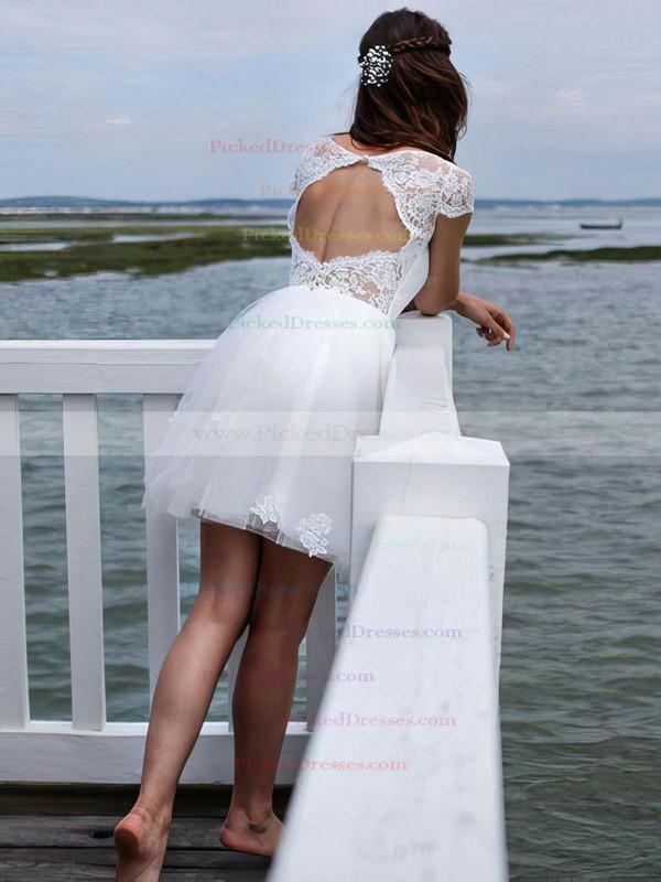 A-line Scoop Neck Tulle Appliques Lace Short/Mini Open Back Cute Wedding Dresses #PDS00022606