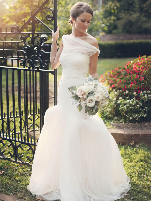 Fabulous Trumpet/Mermaid One Shoulder Tulle Ruffles Sweep Train Wedding Dresses #PDS00022607
