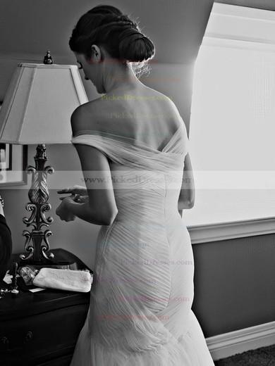 Fabulous Trumpet/Mermaid One Shoulder Tulle Ruffles Sweep Train Wedding Dresses #PDS00022607