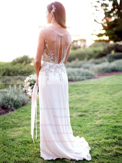 Perfect A-line V-neck Chiffon with Beading Sweep Train Wedding Dresses #PDS00022608