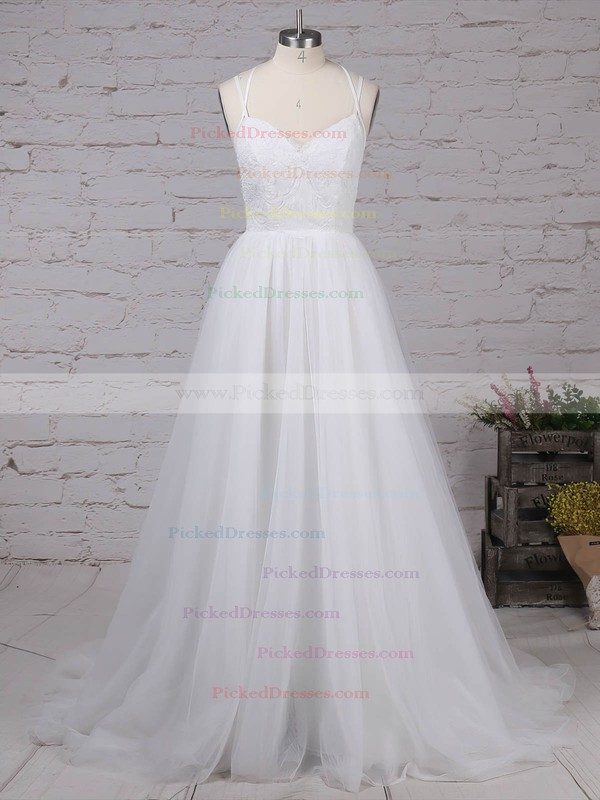 Modern Backless A-line Scoop Neck Tulle Appliques Lace Watteau Train Wedding Dresses #PDS00022609