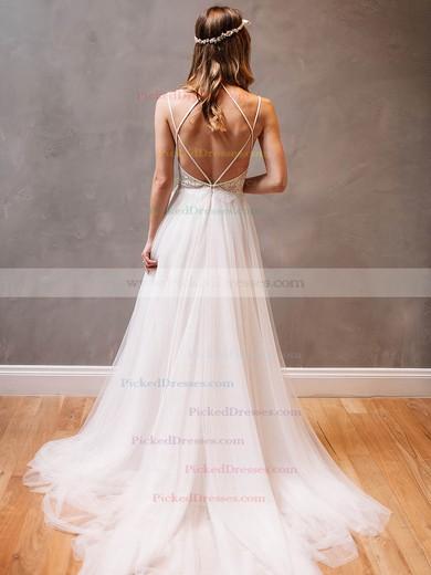 Modern Backless A-line Scoop Neck Tulle Appliques Lace Watteau Train Wedding Dresses #PDS00022609