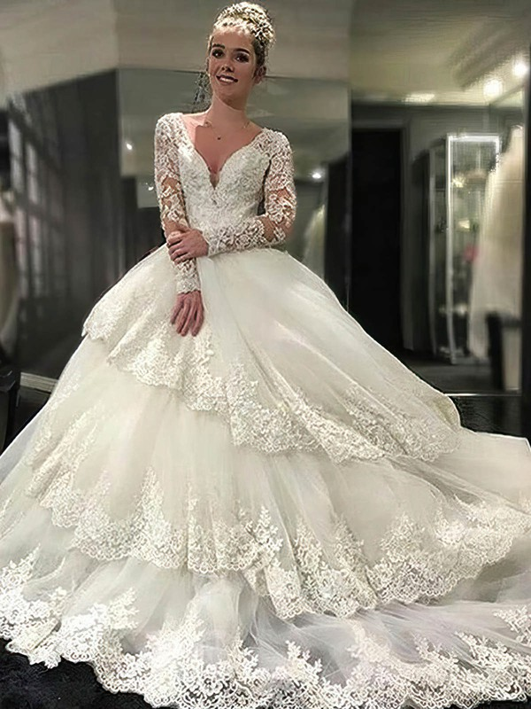 Open Back Ball Gown V-neck Tulle Appliques Lace Cathedral Train Long Sleeve Amazing Wedding Dresses #PDS00022610