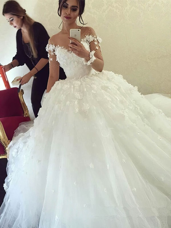 Ball Gown Scoop Neck Tulle Beading Sweep Train Long Sleeve Famous Wedding Dresses #PDS00022611