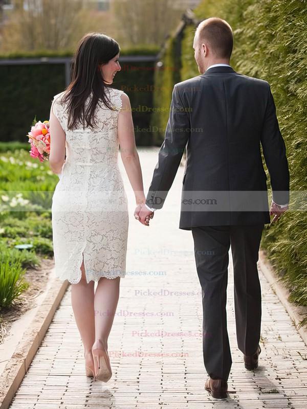 Boutique Sheath/Column Scalloped Neck Lace Ruffles Knee-length Wedding Dresses #PDS00022614