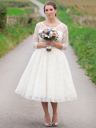 A-line Scoop Neck Lace Ruffles Tea-length 3/4 Sleeve Affordable Wedding Dresses #PDS00022616