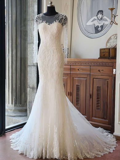 Trumpet/Mermaid Scoop Neck Tulle Beading Chapel Train Long Sleeve Original Wedding Dresses #PDS00022618