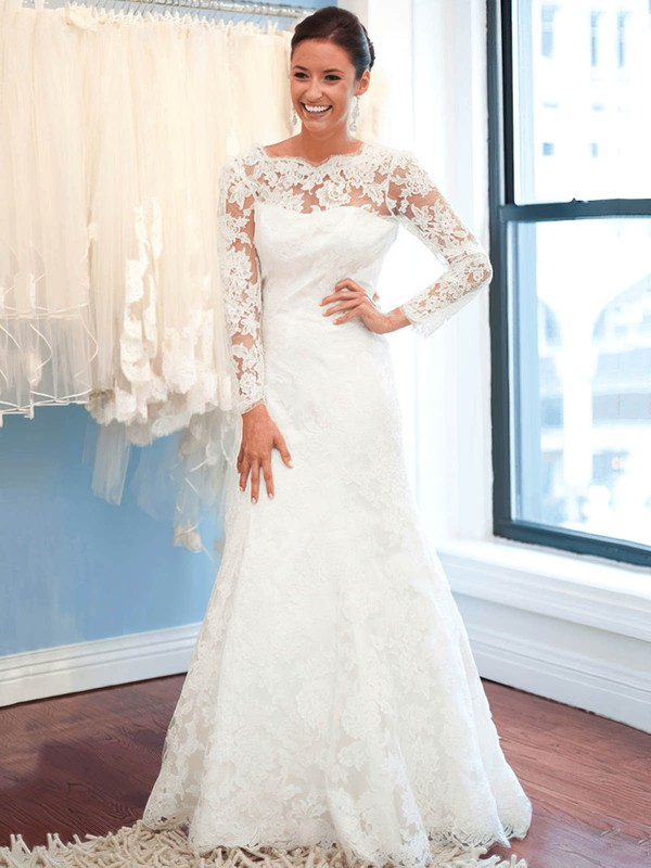 Backless Trumpet/Mermaid Scalloped Neck Tulle Appliques Lace Sweep Train Long Sleeve Boutique Wedding Dresses #PDS00022619