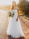 Elegant A-line Sweetheart Tulle with Sashes / Ribbons Floor-length Wedding Dresses #PDS00022620