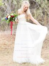 Beautiful A-line Scoop Neck Tulle with Appliques Lace Sweep Train Wedding Dresses #PDS00022621