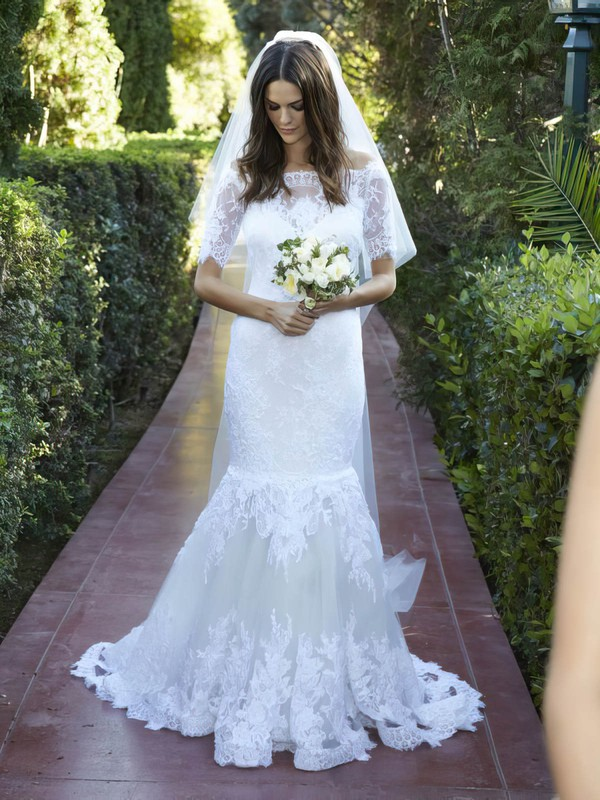 Elegant Trumpet/Mermaid Off-the-shoulder Tulle Appliques Lace Sweep Train 1/2 Sleeve Wedding Dresses #PDS00022623