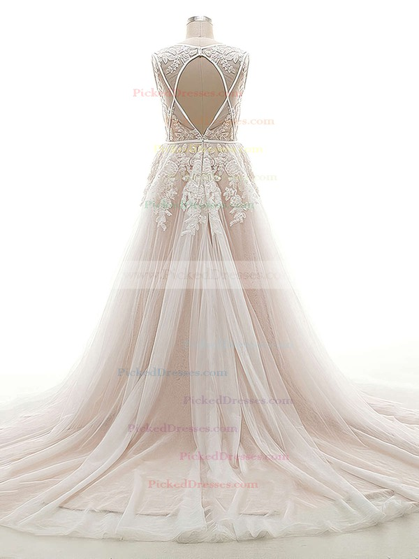 A-line V-neck Tulle Appliques Lace Court Train Open Back Custom Wedding Dresses #PDS00022624