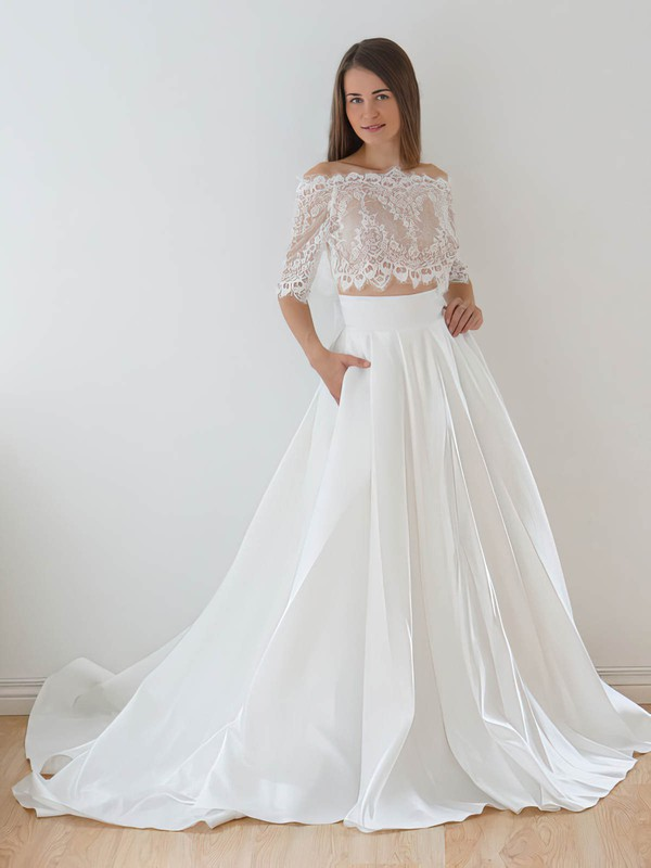 Unique Two Piece A-line Off-the-shoulder Lace Taffeta Appliques Lace Court Train 1/2 Sleeve Wedding Dresses #PDS00022626
