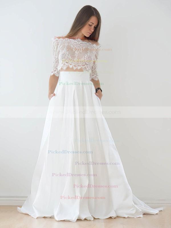 Unique Two Piece A-line Off-the-shoulder Lace Taffeta Appliques Lace Court Train 1/2 Sleeve Wedding Dresses #PDS00022626