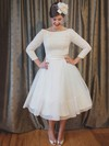 A-line Scoop Neck Lace Organza with Bow Tea-length 3/4 Sleeve Cheap Wedding Dresses #PDS00022627
