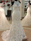 Boutique Trumpet/Mermaid High Neck Tulle Appliques Lace Sweep Train Wedding Dresses #PDS00022628