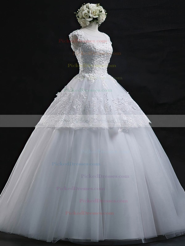 Graceful Ball Gown Scoop Neck Tulle Appliques Lace Floor-length Wedding Dresses #PDS00022629