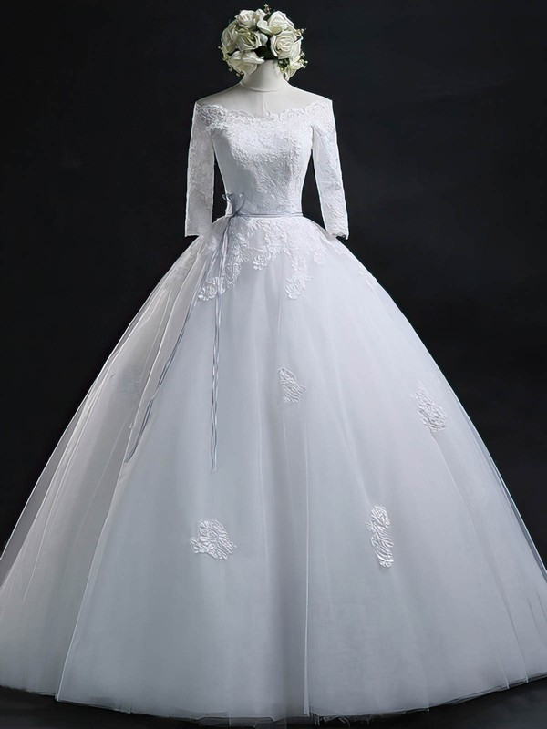 Ball Gown Off-the-shoulder Tulle Appliques Lace Floor-length 3/4 Sleeve Online Wedding Dresses #PDS00022630