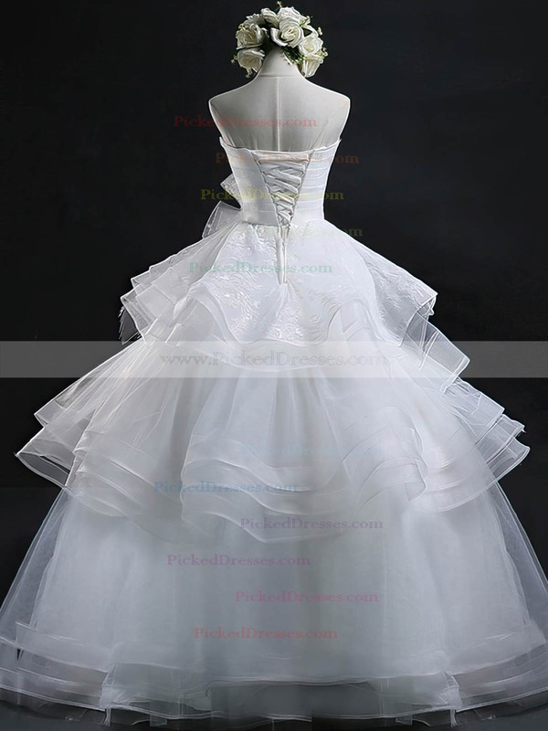 Wholesale Ball Gown Sweetheart Organza Appliques Lace Floor-length Wedding Dresses #PDS00022632