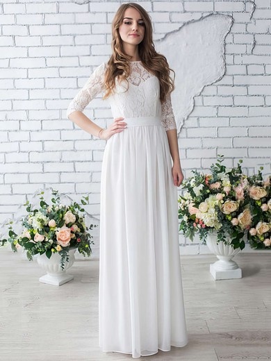 A-line Scoop Neck Chiffon Lace Floor-length 1/2 Sleeve Trendy Wedding Dresses #PDS00022633