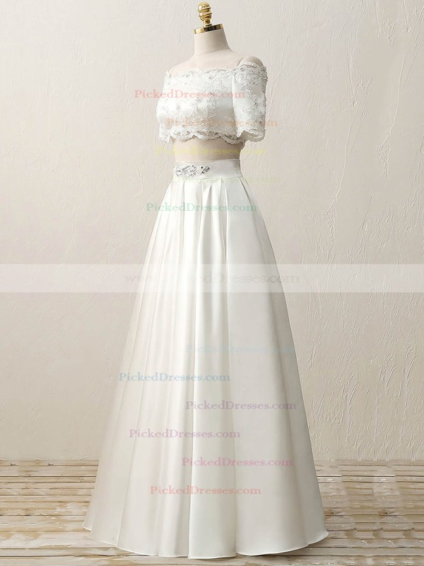 Custom Two Piece A-line Off-the-shoulder Satin Beading Floor-length Short Sleeve Wedding Dresses #PDS00022634